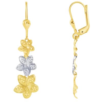 14k Yellow Gold Three Hawaiian Plumeria Flower Two-Tone Dangle Drop Earrings with Leverback