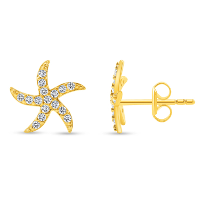 Solid 14k Yellow Gold Pave Cubic-Zirconia Starfish Stud Sea Life Earrings with Screw Back, 10.5mm