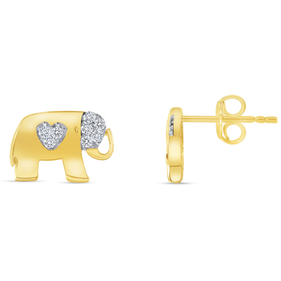 Solid 14k Yellow Gold Cubic-Zirconia Heart Elephant Stud Earrings with Screw Back, 6.5mm