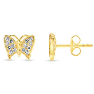 Solid 14k Yellow Gold Pave Cubic-Zirconia Butterfly Stud Earrings with Screw Back, 6.5mm