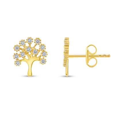 Solid 14k Yellow Gold Cubic-Zirconia Family Tree of Life Symbol Stud Earrings with Screw Back, 9.5mm