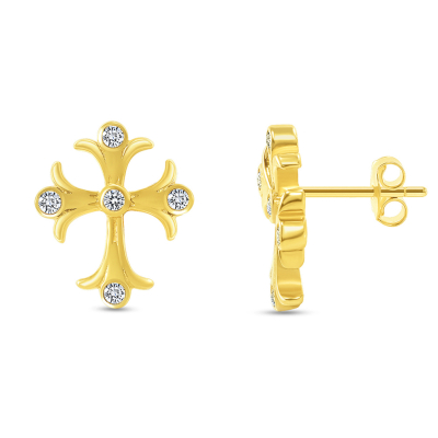 Solid 14k Yellow Gold Cubic-Zirconia Elegant Religious Cross Stud Earrings with Screw Back, 10.5mm