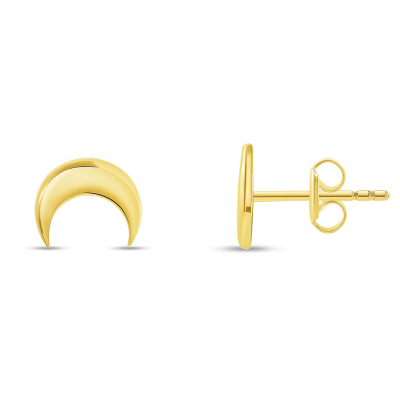 High Polish 14k Yellow Gold Double Horn Crescent Moon Stud Earrings with Screw Back, 8mm x 6.5mm