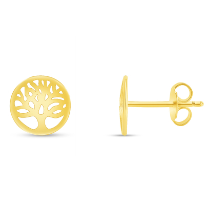Solid 14k Yellow Gold Round Tree of Life Stud Earrings with Screw Back, 8.5mm