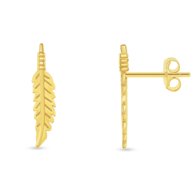 Solid 14k Yellow Gold Feather Shaped Leaf Stud Earrings with Screw Back, 17mm