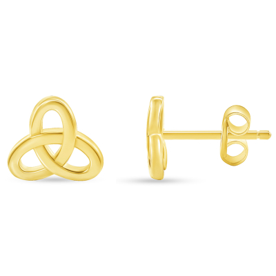 Solid 14k Yellow Gold Celtic Triquetra Trinity Knot Stud Earrings with Screw Back, 8mm x 8.8mm