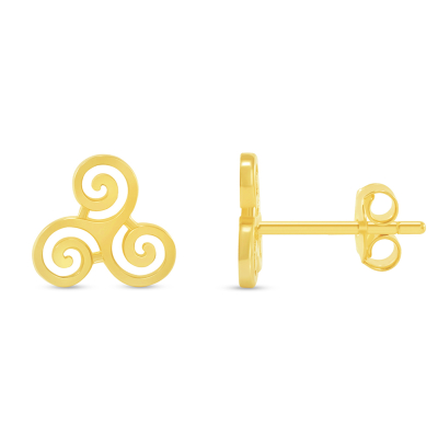 Solid 14k Yellow Gold Celtic Triple Spiral Triskelion Stud Earrings with Screw Back, 8.5mm x 9mm