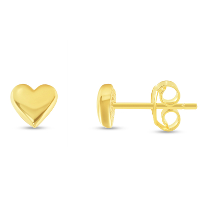 Solid 14k Yellow Gold Mini Heart Stud Love Stud Earrings with Screw Back, 5mm x 5.5mm