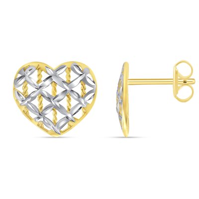 14k Yellow Gold Textured Two-Tone Fancy Heart Stud Love Stud Earrings with Screw Back, 10.5mm