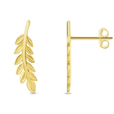 Solid 14k Yellow Gold Olive Branch Stud Earrings with Screw Back, 19mm