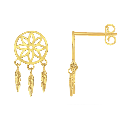 Solid 14k Yellow Gold Native American Dreamcatcher Dangling Feathers Stud Earrings with Screw Back, 16mm