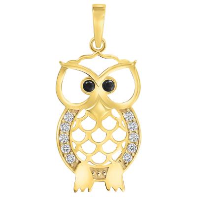 14k Yellow Gold Cubic-Zirconia Open Big Eyes Owl Animal Pendant