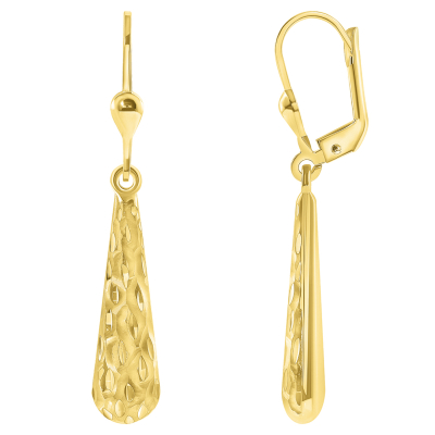 Solid 14k Yellow Gold Fancy Textured and Polished Teardrop Dangle Drop Earrings, 6.5mm