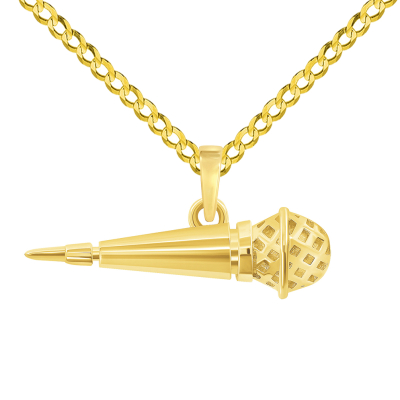 14k Yellow Gold Dynamic Microphone Charm Musical Instrument Pendant with Cuban Curb Chain Necklace