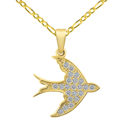 14k Yellow Gold Cubic-Zirconia Flying Swallow Bird Animal Pendant with Figaro Chain Necklace