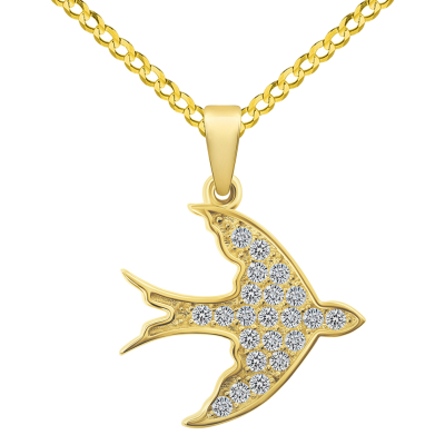 14k Yellow Gold Cubic-Zirconia Flying Swallow Bird Animal Pendant with Cuban Curb Chain Necklace