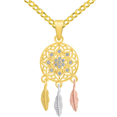14k Yellow Gold Cubic-Zirconia Native American Tri-Tone Dreamcatcher Pendant with Cuban Curb Chain Necklace