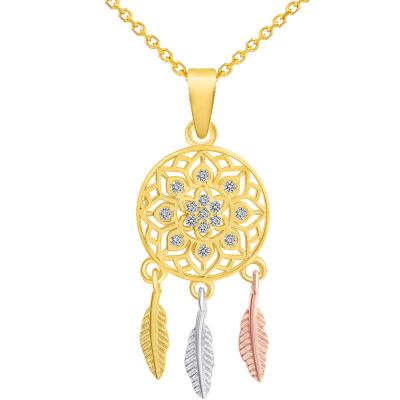 14k Yellow Gold Cubic-Zirconia Native American Tri-Tone Dreamcatcher Pendant Necklace