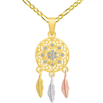 14k Yellow Gold Cubic-Zirconia Native American Tri-Tone Dreamcatcher Pendant with Figaro Chain Necklace