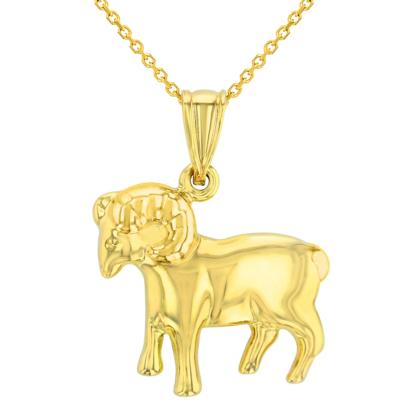 High Polish 14k Yellow Gold 3D Aries Zodiac Sign Ram Animal Pendant Necklace