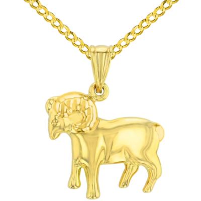 High Polish 14k Yellow Gold 3D Aries Zodiac Sign Ram Animal Pendant Cuban Curb Chain Necklace