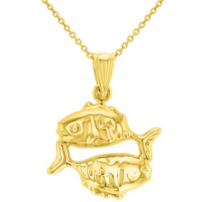 High Polish 14k Yellow Gold 3D Pisces Zodiac Sign Charm Fish Animal Pendant Necklace