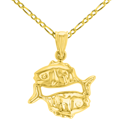 High Polish 14k Yellow Gold 3D Pisces Zodiac Sign Charm Fish Animal Pendant Figaro Chain Necklace