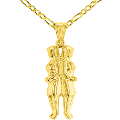 High Polish 14k Yellow Gold 3D Gemini Twins Zodiac Sign Pendant with Figaro Chain Necklace