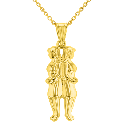 High Polish 14k Yellow Gold 3D Gemini Twins Zodiac Sign Pendant Necklace