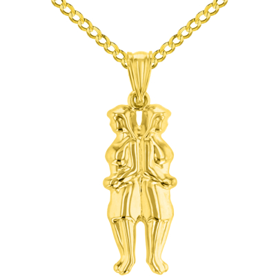High Polish 14k Yellow Gold 3D Gemini Twins Zodiac Sign Pendant with Cuban Curb Chain Necklace