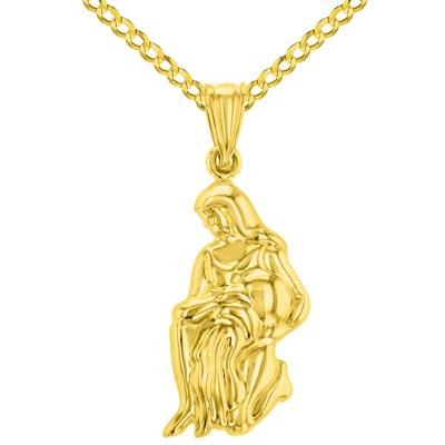 High Polish 14k Yellow Gold 3D Aquarius Water-Bearer Zodiac Sign Charm Pendant Cuban Curb Chain Necklace