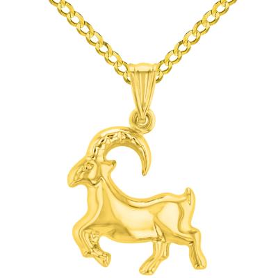 High Polish 14k Yellow Gold 3D Capricorn Zodiac Sign Charm Sea-Goat Animal Pendant Cuban Curb Chain Necklace