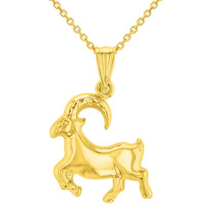 High Polish 14k Yellow Gold 3D Capricorn Zodiac Sign Charm Sea-Goat Animal Pendant Necklace