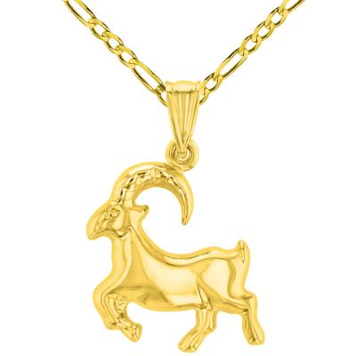 High Polish 14k Yellow Gold 3D Capricorn Zodiac Sign Charm Sea-Goat Animal Pendant Figaro Chain Necklace