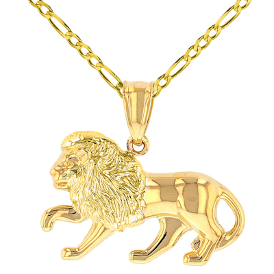 High Polish 14k Yellow Gold 3D Leo Zodiac Sign Charm Lion Animal Pendant with Figaro Chain Necklace