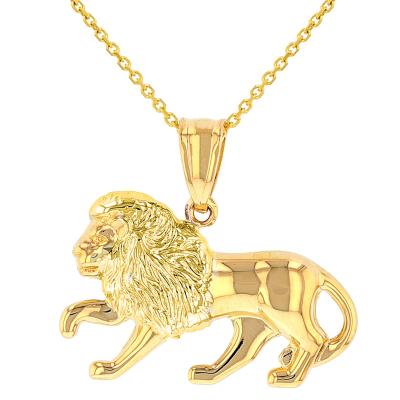 High Polish 14k Yellow Gold 3D Leo Zodiac Sign Charm Lion Animal Pendant Necklace