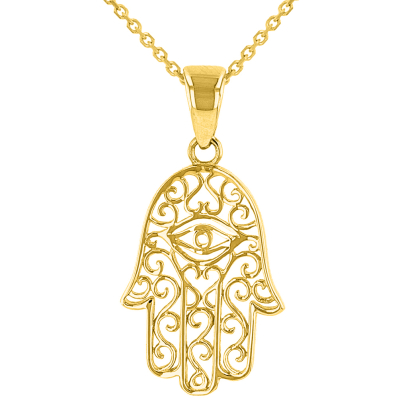Solid 14K Yellow Gold Filigree Hamsa Hand of Fatima with Evil Eye Pendant Necklace