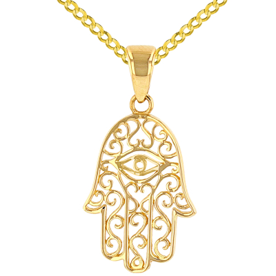 Solid 14K Yellow Gold Filigree Hamsa Hand of Fatima with Evil Eye Pendant Cuban Chain Curb Necklace