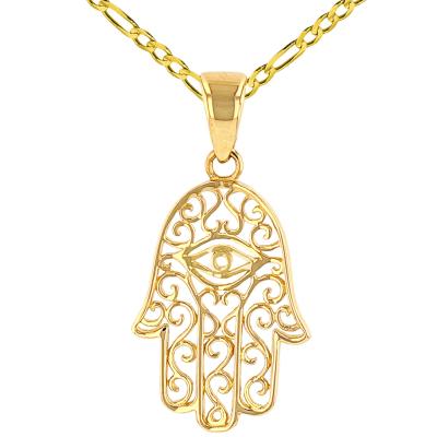 Solid 14K Yellow Gold Filigree Hamsa Hand of Fatima with Evil Eye Pendant Figaro Chain Necklace