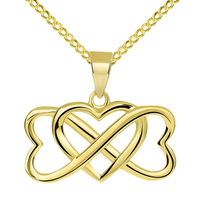 14k Yellow Gold Interlocking Triple Heart Infinity Love Symbol Pendant with Cuban Chain Curb Necklace