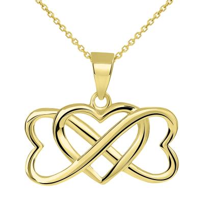 14k Yellow Gold Interlocking Triple Heart Infinity Love Symbol Pendant Necklace
