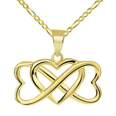 14k Yellow Gold Interlocking Triple Heart Infinity Love Symbol Pendant with Figaro Chain Necklace