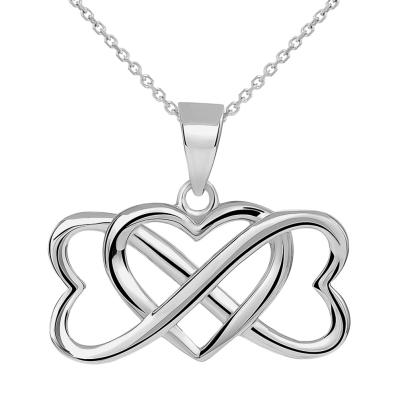 14k White Gold Interlocking Triple Heart Infinity Love Symbol Pendant Necklace