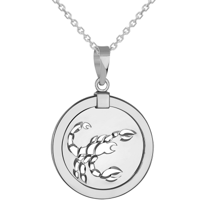 14k White Gold Round Scorpion Scorpio Zodiac Sign Medallion Pendant Necklace (Reversible)