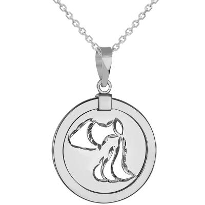 14k White Gold Round Aquarius Zodiac Sign Medallion Pendant Necklace (Reversible)