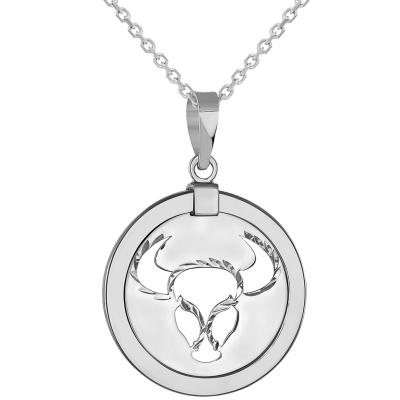 14k White Gold Round Taurus Zodiac Sign Bull Animal Medallion Pendant Necklace (Reversible)
