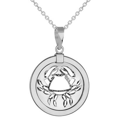 14k White Gold Round Cancer Zodiac Sign Crab Animal Medallion Pendant Necklace (Reversible)