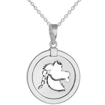 14k White Gold Round Capricorn Zodiac Sign Sea-Goat Animal Medallion Pendant Necklace (Reversible)