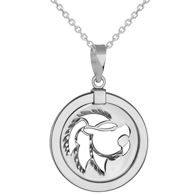 14k White Gold Round Leo Zodiac Sign Lion Animal Medallion Pendant Necklace (Reversible)