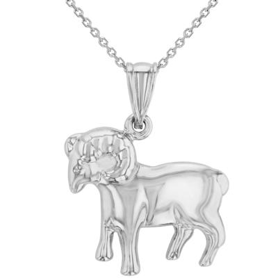 High Polish 14k White Gold 3D Aries Zodiac Sign Ram Animal Pendant Necklace